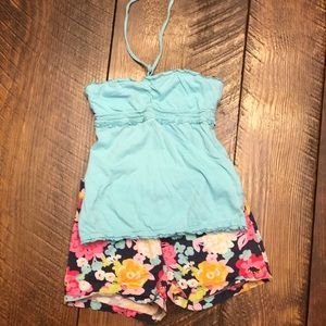 Summer Outfit- Blue halter w/ navy flower shorts